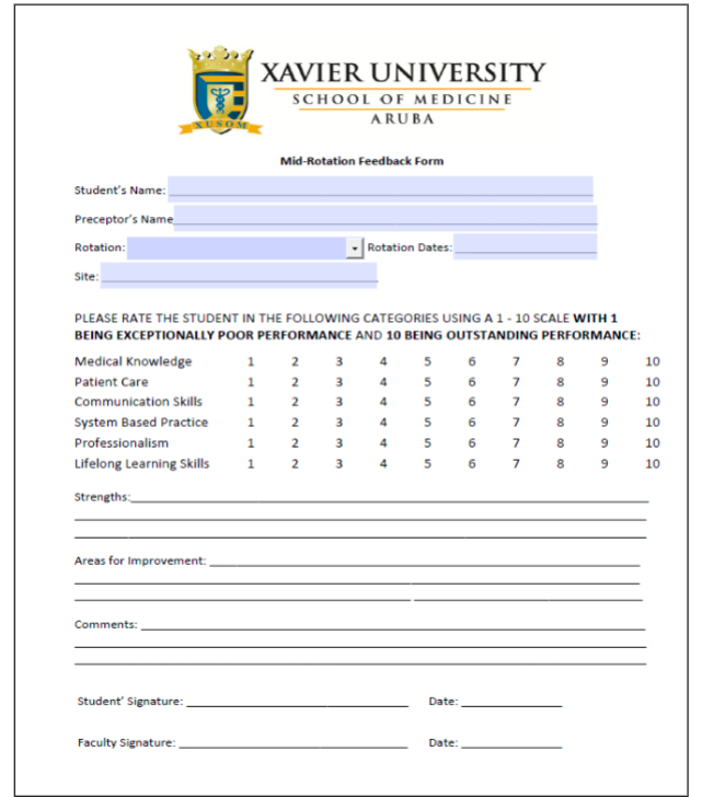 Student Mid-Rotation Evaluation Form