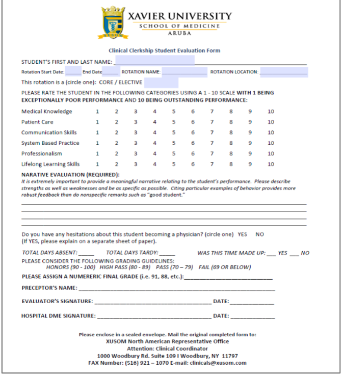 Clinical Clerkship Student Evaluation Form